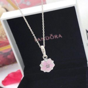Pandora Pink Magnolia Flower Chain Necklace